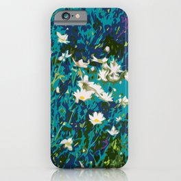 Daisies smothered in Teal iPhone Case