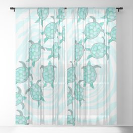 Watercolor Teal Sea Turtles on Swirly Stripes Sheer Curtain