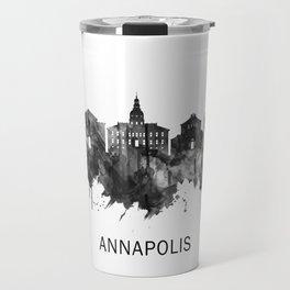 Annapolis Maryland Skyline BW Travel Mug