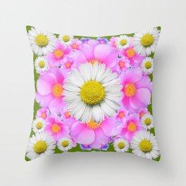 Avocado Color Shasta Daisies Rose Pattern Garden Throw Pillow
