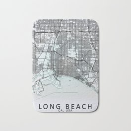 Long Beach, CA, USA, White, City, Map Bath Mat