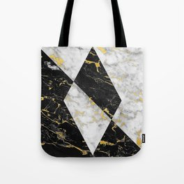 Diamond // Gold Flecked Black & White Marble Tote Bag