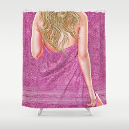 Woman in Towel Shower Curtain