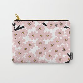 Modern pink black hand painted cherries blossom floral Carry-All Pouch