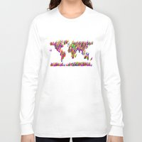 music notes Long Sleeve T-shirts featuring World Map Music Notes by mailboxdisco