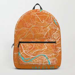 Würzburg, Germany, Gold, Blue, City, Map Backpack