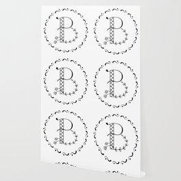 B - botanical monogram. Wallpaper