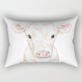 Baby White Cow Calf Watercolor Farm Animal Rectangular Pillow
