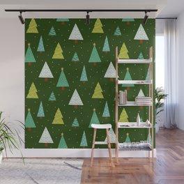 Holly Jolly Christmas Trees - Green Wall Mural