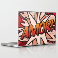 comic book Laptop & iPad Skins featuring Comic Book AMOR! by The Image Zone