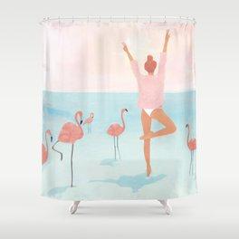 Big Flamingo Shower Curtain
