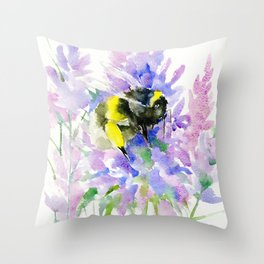 Bumblebee and Lavender Flowers, nature bee honey making decor Throw Pillow