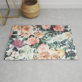 Vintage green pink yellow watercolor roses floral Rug
