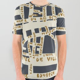 PARIS MAP GREY GOLD All Over Graphic Tee