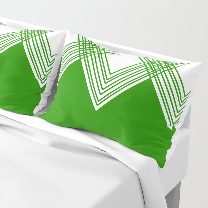 Abstract geometric pattern - green and white. Pillow Sham