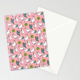 Pink Llama Alpaca Cactus Pattern Gift Stationery Cards