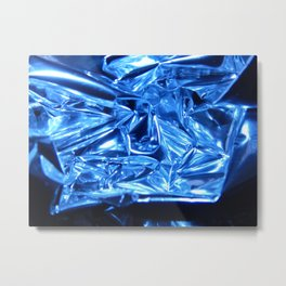 Chrome Folds with a blue Touch Metal Print