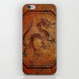Distressed Chinese Dragon In Octagon Frame iPhone Skin