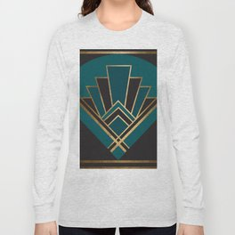 Art Deco New Yesterday In Teal Long Sleeve T-shirt