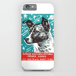 1950s Laika Space Dog Russian Matchbox Label iPhone Case
