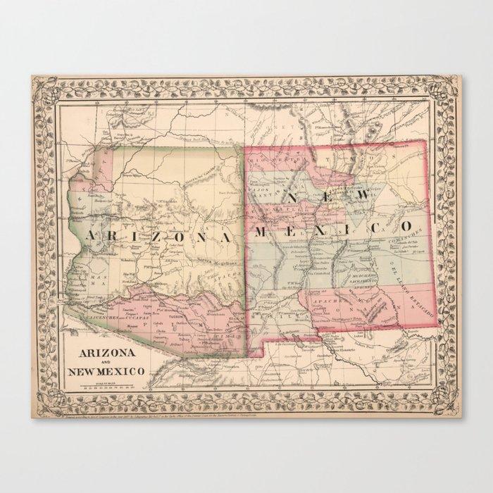 Vintage New Mexico and Arizona Map (1868) Canvas Print by bravuramedia