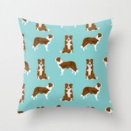 Border Collie red coat dog breed pet friendly gifts for collie lovers Throw Pillow