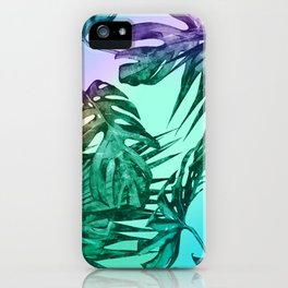 Simply Palm Leaves in Hologram Island Green iPhone Case