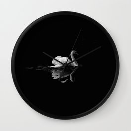 WHITE - SWAN - ON - BODY - OF - WATER Wall Clock