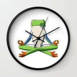 Meditate Frog Wall Clock