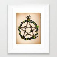 pentagram Framed Art Prints featuring PENTAGRAM GARLAND by Dianah B