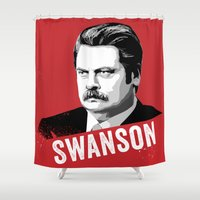 ron swanson Shower Curtains featuring RON SWANSON Quote#4 by Michelle Eatough