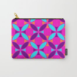 Geometric Floral Circles Vibrant Color Challenge In Bold Purple Pink Orange & Blue Carry-All Pouch