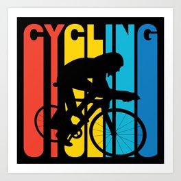 Retro Style Cycling Cyclist Biking Art Print