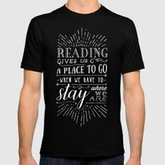 Reading gives us a place to go Mens Fitted Tee Black MEDIUM