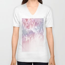 Falling Shades of purple and pink Glitch pattern Unisex V-Neck