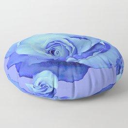 LIGHT BLUE ROSES & BLUE  MODERN ART GARDEN Floor Pillow