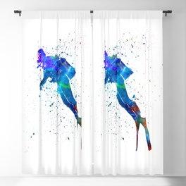 Man scuba diver 02 in watercolor Blackout Curtain