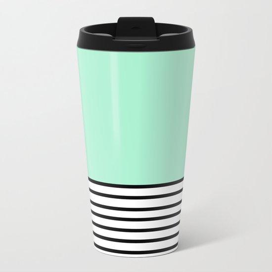 Fresh Mint Black and White stripes pattern Metal Travel Mug