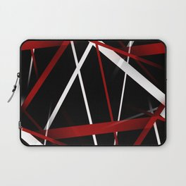 Seamless Red and White Stripes on A Black Background Laptop Sleeve