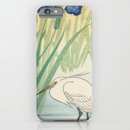 Egret and blue swamp flowers - Vintage Japanese Woodblock Print iPhone Case
