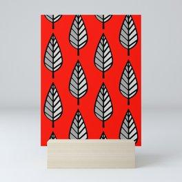 Beech Leaf Pattern, Red, Black and Gray / Grey Mini Art Print