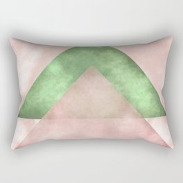Pink and Green Triangles Geometric Abstract Rectangular Pillow
