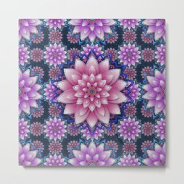 Embroidered pink & purple Metal Print