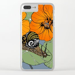 Snail on Nasturtiums Clear iPhone Case
