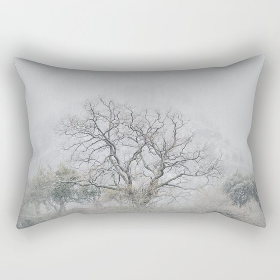 """""""King of the Mountain"""". Foggy and snowy mountain. Rectangular Pillow"""