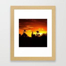 Treeline Sunset, Fiery Sky. Framed Art Print