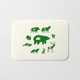 Nature Trail in Forest Green and Cream Bath Mat