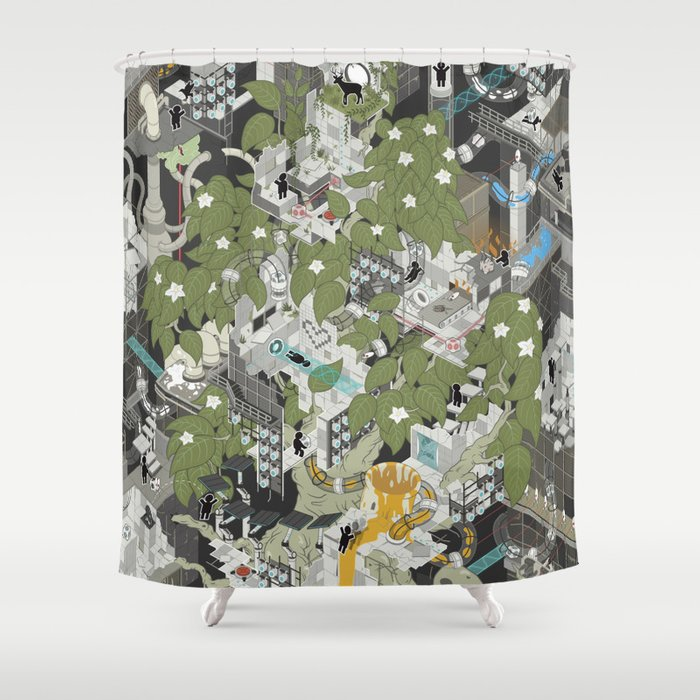 Aperture Science All The Time Shower Curtain