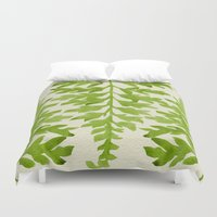 lime Duvet Covers featuring Lime Fern by Cat Coquillette