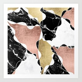 Modern white black marble rose gold foil color block handdrawn geometric lines Art Print